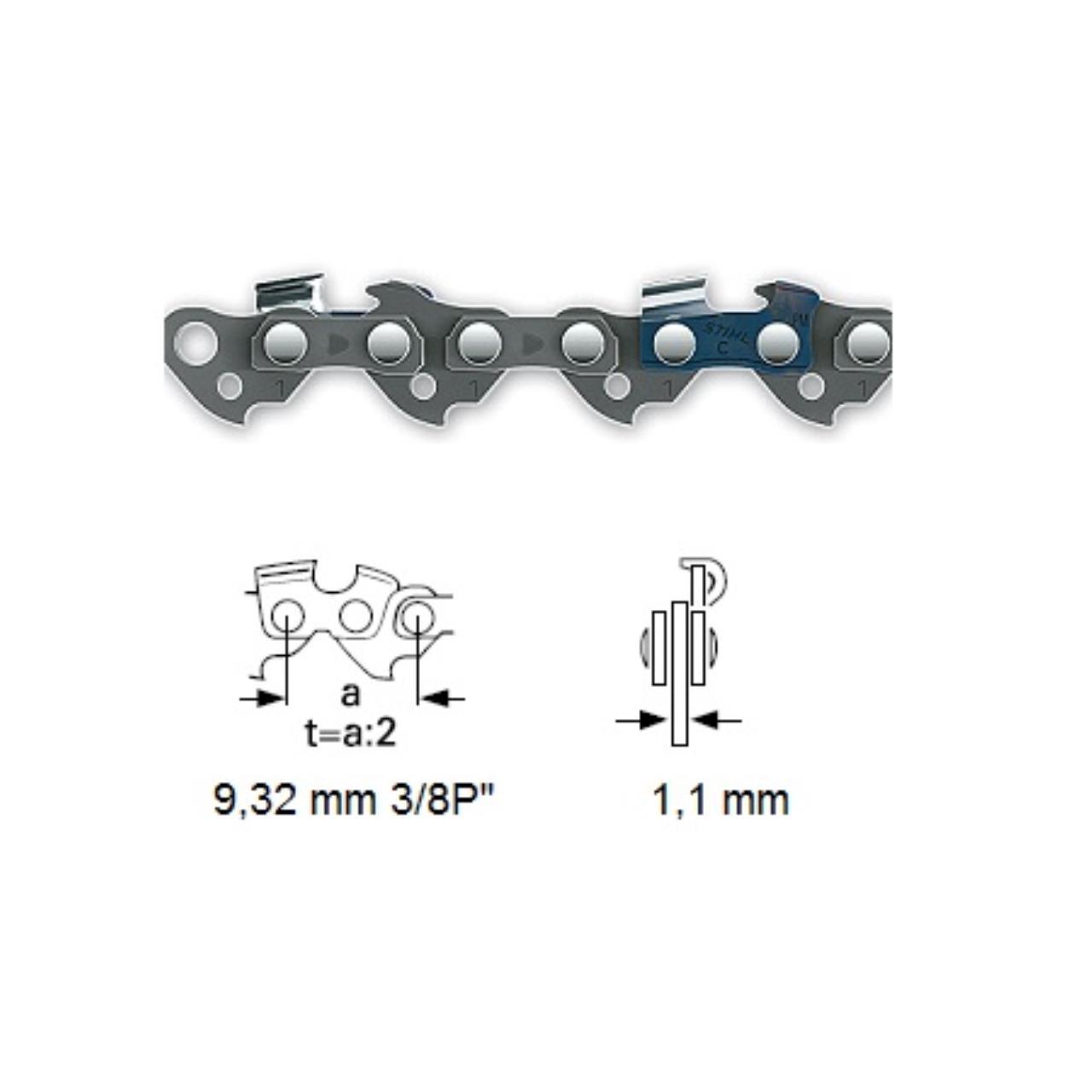 """Kæde 3/8"""" PMMC3 1,1 mm"""