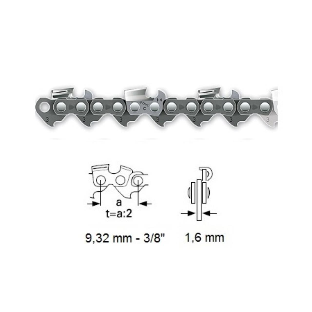 """Stihl savkæde 3/8"""" RMC, 1,6 mm, halvmejsel"""